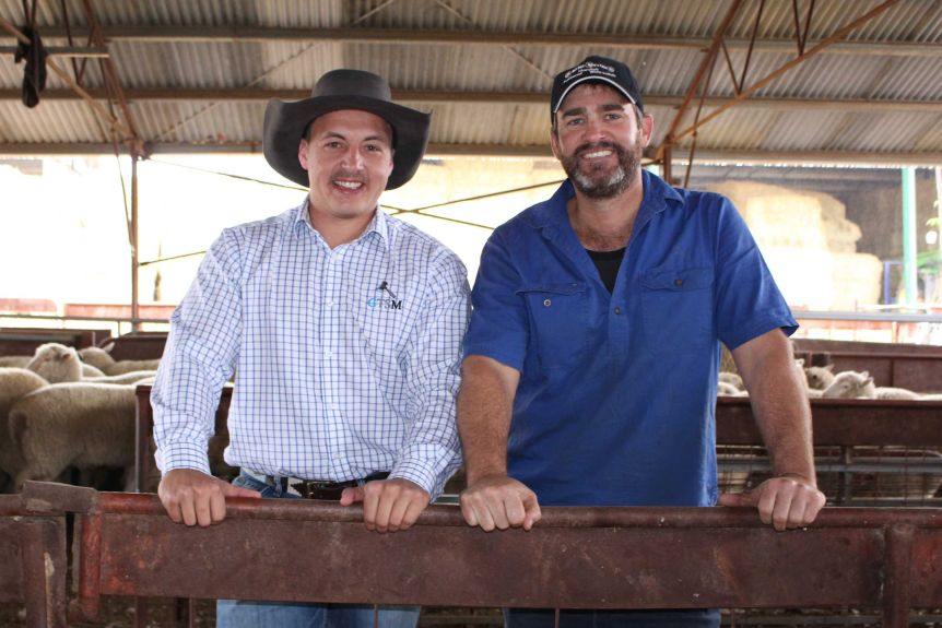 Auctioneer Lincoln McKinlay (l) and sheep farmer Scott Mitchell grow a moustache to support men's health.(ABC Rural: Cara Jeffery)